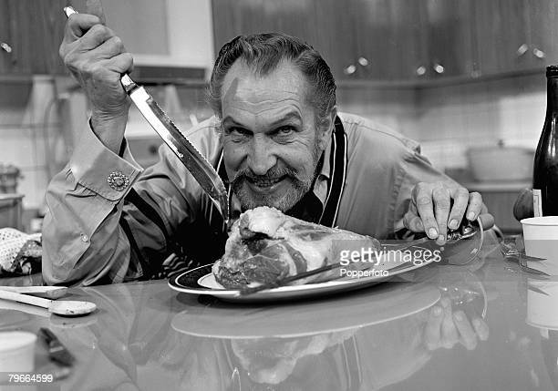 London England 13th July 1970 Horror film actor Vincent Price holding a sharp knife strikes a typical scary pose in London