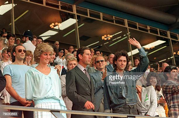 London England 13th July 1985 The Prince and Princess of Wales are pictured with a waving Bob Geldof at the Live Aid concert at Wembley Stadium...