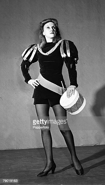 London England 14th March 1944 Portrait of comedienne Hermione Gingold in costume portraying a pantomime style drummer boy at the Ambassador Theatre