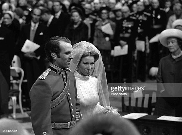 London England 14th November HRH Princess Anne and captain Mark Phillips stand together during their wedding service at Westminster Abbey