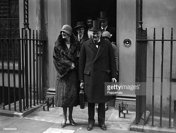 London England 15th April Chancellor of the Exchequer Winston Churchill with his wife on the steps of Number10 Downing Street