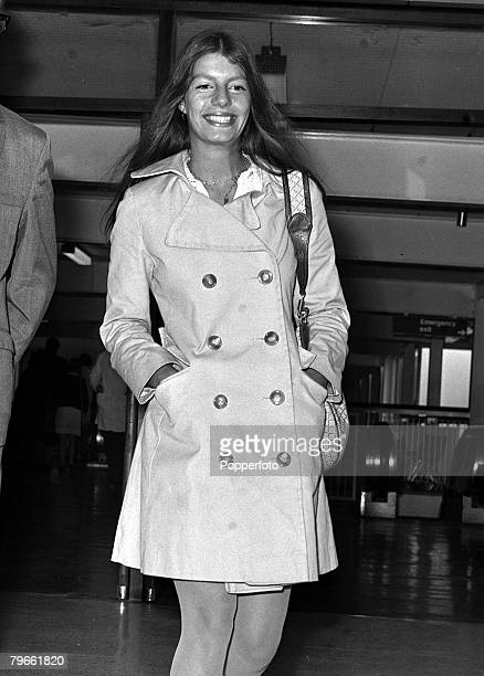 London England 15th July 1970 Princess Jasmine Khan daughter of the late Aly Khan and film actress Rita Hayworth is pictured arriving at Heathrow for...