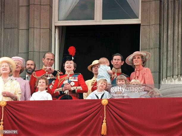 London England 15th June 1985 Members of the Royal Family watch the Trooping of the Colour from the balcony of Buckingham Palace during celebrations...