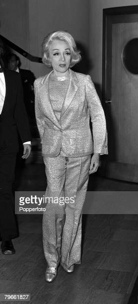 London England 16th September 1971 German born US film actress and cabaret singer Marlene Dietrich is pictured during a visit to London
