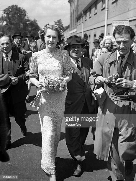 London England 17th June Miss Raine McCorquodale wears a long lace dress in a bridesmaid effect as she attends the Royal Ascot horse race