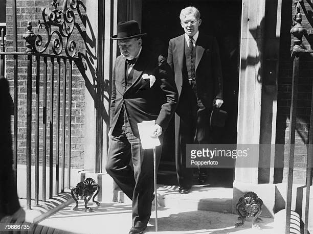 London England 18th June British Prime Minister Winston Churchill leaves Number 10 Downing Street to make his statement in the House of Commons on...