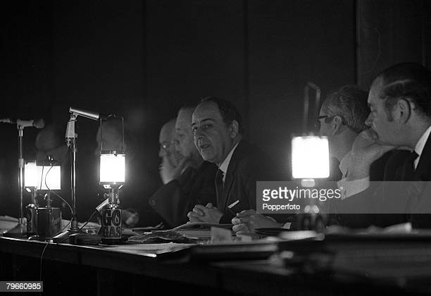 London England 19th February 1972 Derek Ezra Chairman of the National Coal Board conducts a press conference by gas lamps during a power cut in the...