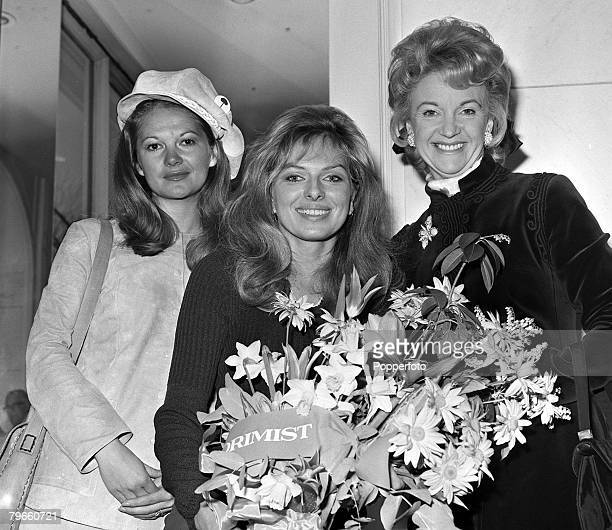 London England 1st April 1971 Actresses LR Anna Palk Julie Ege and Moira Lister are pictured at a Show Business awards lunch