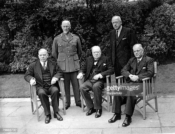 London England 1st May British Prime Minister Winston Churchill with the other four empire premiers LR Standing Peter Fraser of New Zealand General...