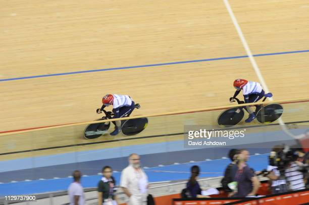 London England 2012 The London Olympics Track Cycling at the Velodrome Womans Sprint final VICTORIA PENDLETON AND JESSISCA VARNISH NEW WORLD IN THE...