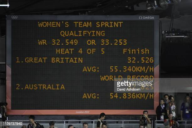 London, England - 2012 The London Olympics Track Cycling at the Velodrome Womans Sprint final VICTORIA PENDLETON AND JESSISCA VARNISH NEW WORLD IN...
