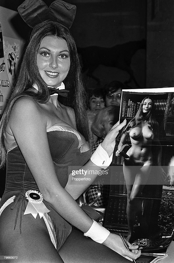 London, England, 20th January 1972, English pin up girl Marilyn Cole wearing her Bunny Girl outfit, appears at a Press conference displaying a nude centre fold picture of her that appeared in Playboy Magazine