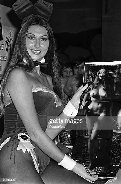 London England 20th January 1972 English pin up girl Marilyn Cole wearing her Bunny Girl outfit appears at a Press conference displaying a nude...