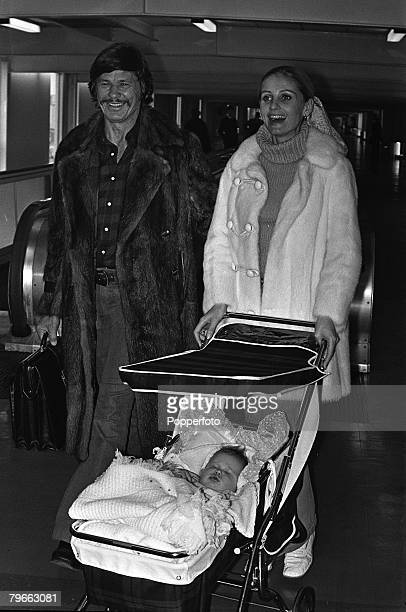 London England 22nd January 1972 American Film actor Charles Bronson with his actress wife Jill Ireland and their 7 month old daughter Zuleika arrive...