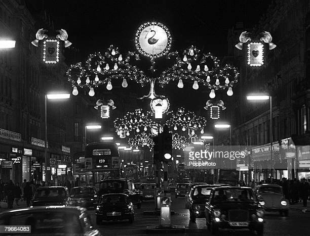 London England 22nd November 1971 Christmas lights illuminate Regent Street in London with the theme Twelve Days of Christmas