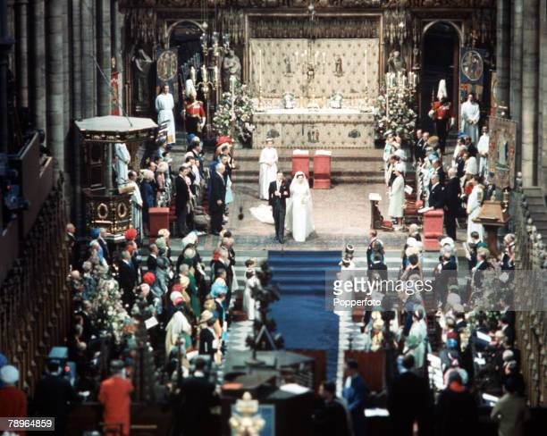 London England 24th April 1963 A general scene inside Westminster Abbey during the wedding of Princess Alexandra and Angus Ogilvy