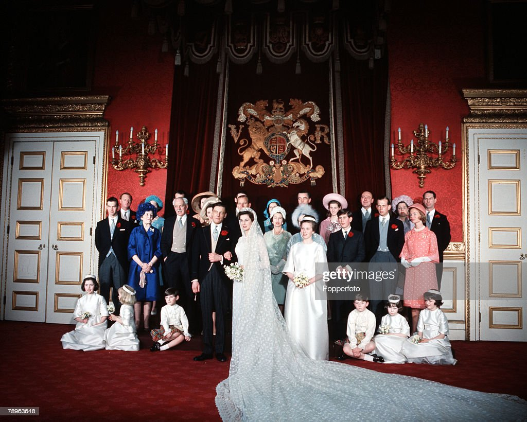 London, England. 24th April 1963. Princess Alexandra and Angus Ogilvy are pictured on their wedding day with the wedding group. : News Photo