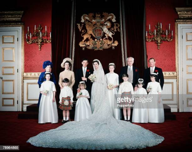 London England 24th April 1963 Princess Alexandra and Angus Ogilvy are pictured on their wedding day with the wedding group