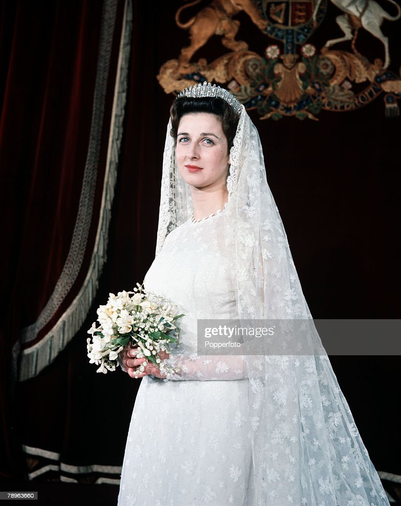 London, England. 24th April 1963. Princess Alexandra is pictured in her wedding gown prior to her marriage to Angus Ogilvy. : News Photo