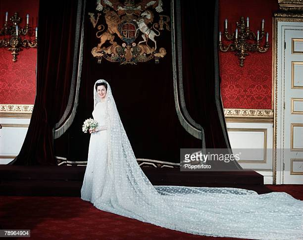 London England 24th April 1963 Princess Alexandra is pictured in her wedding gown prior to her marriage to Angus Ogilvy