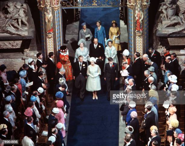 London England 24th April 1963 Queen Elizabeth II with Prince Philip the Duke of Edinburgh and Prince Charles attend the wedding of Princess...