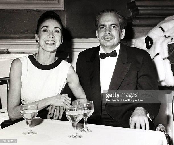 London England 24th December 1965 Ballet dancer Dame Margot Fonteyn and her husband Panamanian Ambassador Dr Roberto Arias together at a celebration...
