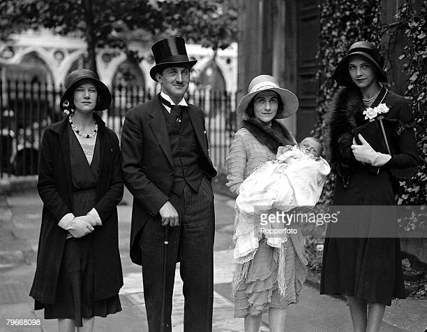 London England 24th June The Countess JohnstonNoad wife of motor boat racer Count JohnstonNoad with baby John Michael during the baby's christening...