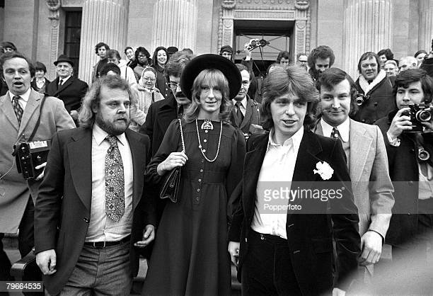 London England 25th February 1972 Pop singer Georgie Fame leaves London's Marylebone registry office after marrying the former Marchioness of...