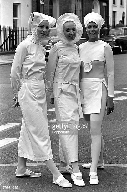 London England 25th October 1970 Nurses uniforms designed by French fashion designer Pierre Cardin are modelled at the Nursing Exhibition