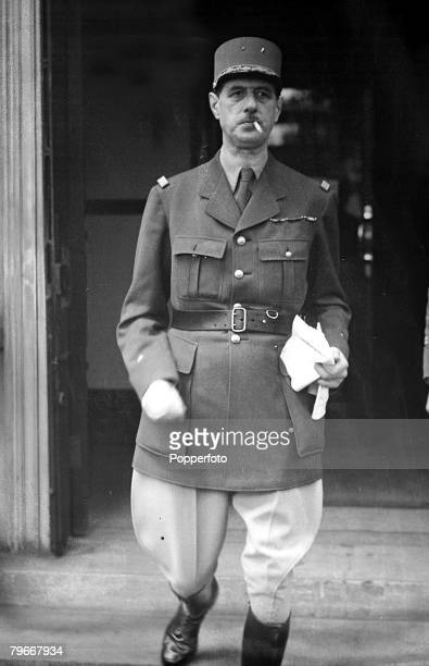 London England 26th June 1940 General Charles De Gaulle leader of the French National Committee pictured smoking a cigarette and wearing military...
