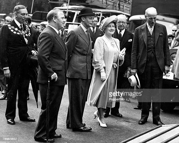 London England 27th July King George VI and Queen Elizabeth inspecting the king's new horse box on their visit to the United Kingdom Motor Industry...