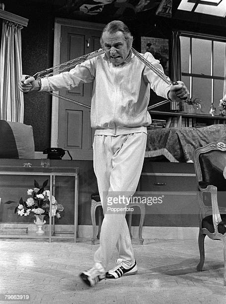 London England 29th August 1973 British actor Patrick Cargill rehearses for a new comedy 'Two and Two Make Sex' at the Cambridge Theatre
