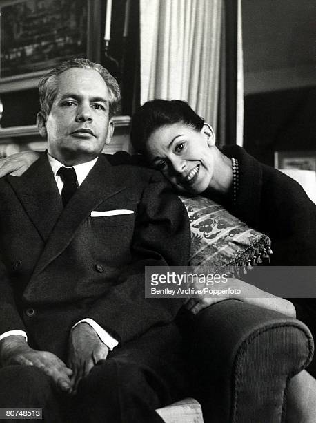 London England 29th March 1965 Dr Roberto Arias is affectionately held by his wife Dame Margot Fonteyn at their home in Barons Court during a week's...