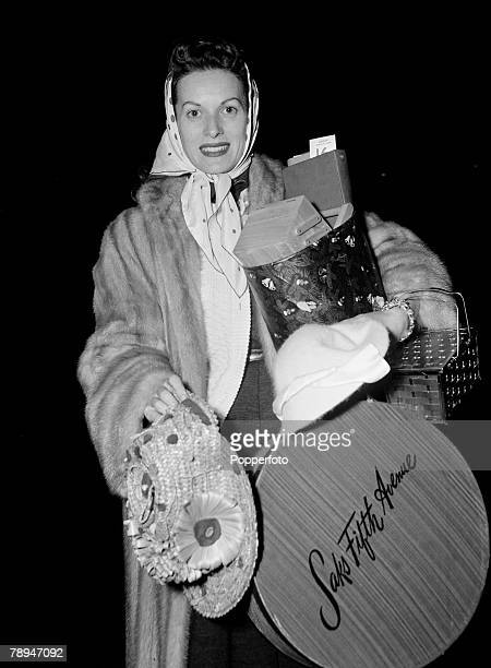London England 2nd February 1956 American film and movie actress Maureen O'Hara pictured carrying shoping goods