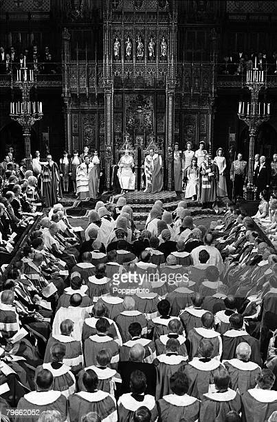 London England 2nd July 1970 A general view as Queen Elizabeth II of Great Britain reads her speech at the State Opening of Parliament
