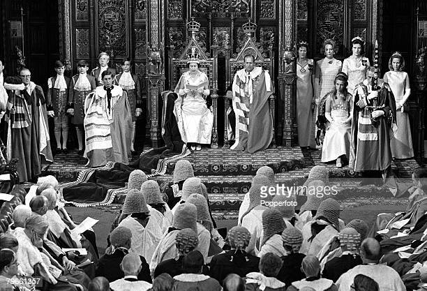 London England 2nd July 1970 Queen Elizabeth II of Great Britain and Prince Philip are pictured in full ceremonial robes at the state opening of...
