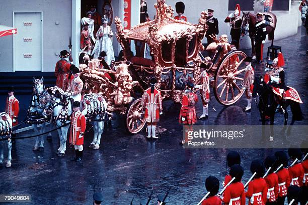 London England 2nd June 1953 The Coronation of Queen Elizabeth II Queen Elizabeth II can be seen emerging from Westminster Abbey to enter her State...