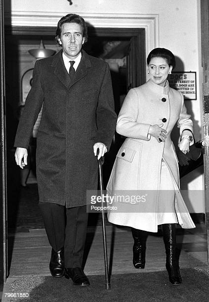 London England 30th December 1970 Lord Snowdon leaves a London clinic with Princess Margaret after he had minor surgery