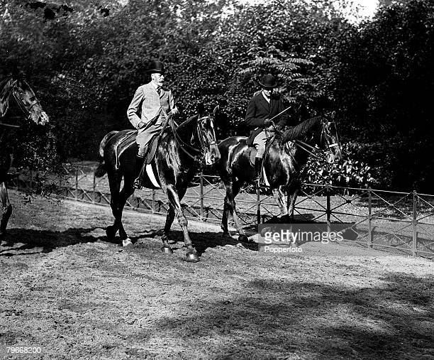 London England 30th May His Majesty King George V out riding his horse in Rotten Row Hyde Park