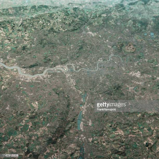 london england 3d render aerial landscape view from north feb 2019 - frankramspott imagens e fotografias de stock