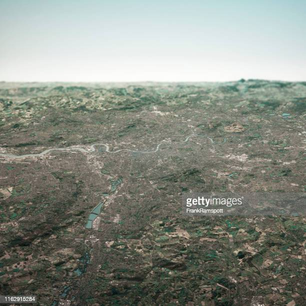 london england 3d render horizon aerial view from north feb 2019 - frankramspott imagens e fotografias de stock