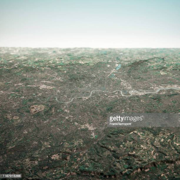 london england 3d render horizon aerial view from south feb 2019 - frankramspott imagens e fotografias de stock