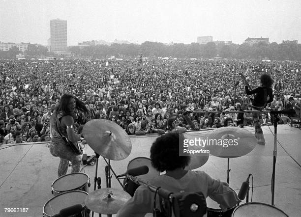 "London, England, 3rd July 1971, American pop group ""Grand Funk Railroad"", Don Brewer , Guitarists Mel Schacher and Mark Farner, are pictured during a..."