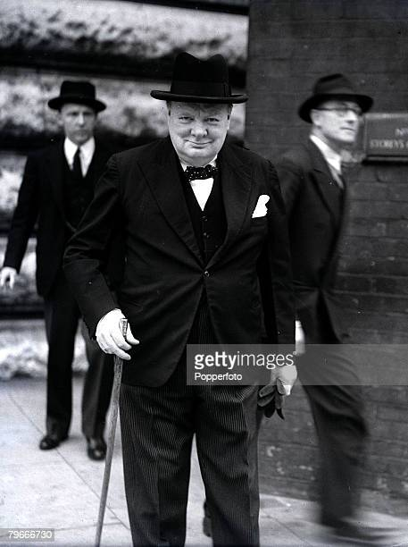 London England 4th August British Prime Minister Winston Churchill wearing hat and holding a cane during World War Two