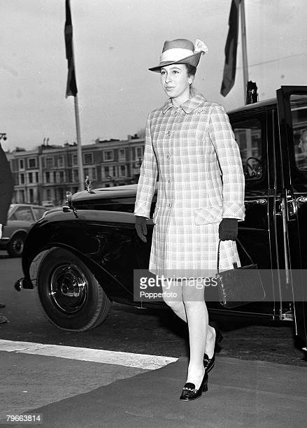 London England 5th February 1971 Princess Anne is pictured arriving at London's Olympia to attend Cruft's dog show