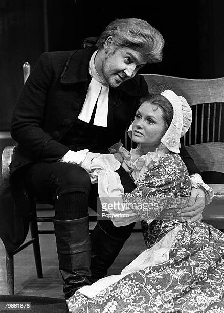 London England 5th July 1971 British actors Jennie Linden and Ray McAnally rehearse a scene from the play The Devil's Disciple at a London Theatre