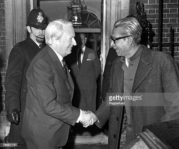 London England 8th January 1972 Bangladesh leader Sheikh Mujibur Rahman is greeted by British Prime Minister Edward Heath as he arrives at 10 Downing...