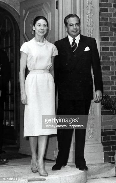 London England 8th September 1959 Dr Roberto Arias and his wife Dame Margot Fonteyn stand on the doorstep of their home