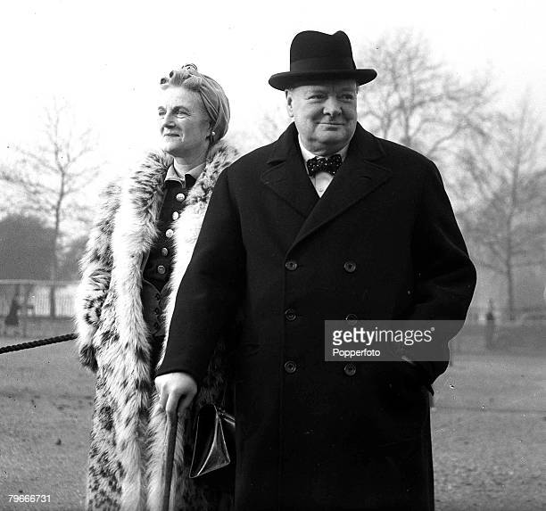 London England 9th January British Prime Minister Winston Churchill with his wife Clementine on London's Horse Guard's Parade after inspecting the...