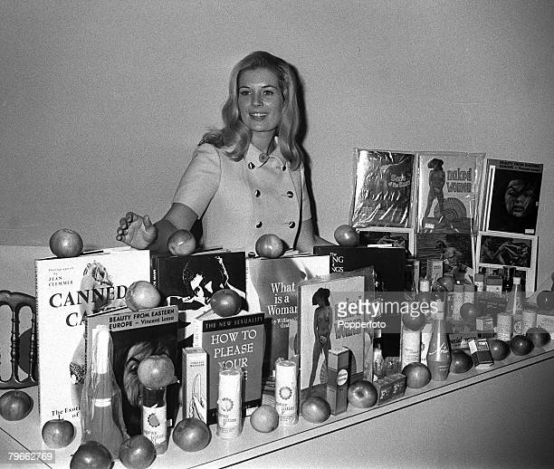 London England 9th September 1970 Anne Summers displays some of the books and toys available at her new sex shop